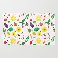 vegetables Area & Throw Rugs featuring Delicious Vegetables by Viola Brun Designs