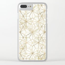 Modern gold and marble geometric star flower image Clear iPhone Case