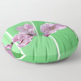 Cherry Blossoms on Greens Floor Pillow
