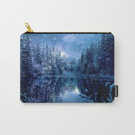A Cold Winter's Night : Turquoise Teal Blue Winter Wonderland Carry-All Pouch