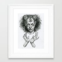 scary Framed Art Prints featuring Scary by Taylor Bryn Illustration