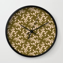 Beige flower decoration Wall Clock