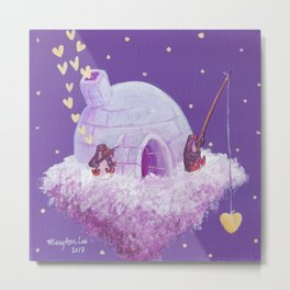 Penguins Fishing and Making Music On Their Floating Igloo Home in the Stars Metal Print