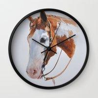 western Wall Clocks featuring Western Horse by Natalia Elina