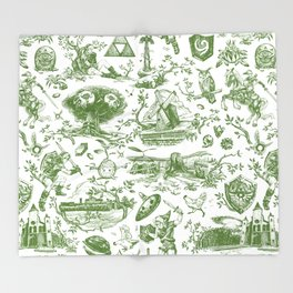 "Zelda ""Hero of Time"" Toile Pattern - Kokiri's Emerald Throw Blanket"