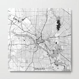 Dallas Map Gray Metal Print