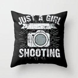 Camera Photographer Girl Throw Pillow