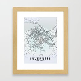 Inverness, Scotland, White, City, Map Framed Art Print