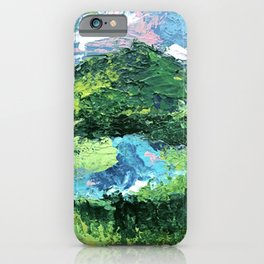 Gunnison: a vibrant acrylic mountain landscape in greens, blues, and a splash of pink iPhone Case