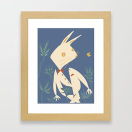 rabbit and butterfly Framed Art Print