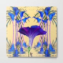 CONTEMPORARY PURPLE-BLUE FLOWERS ON CREAM Metal Print