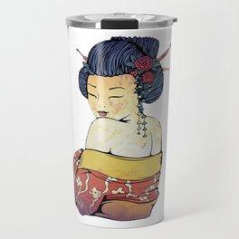 Geisha - Japanese Girl Portrait traditional Japan Woman Travel Mug