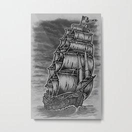 Caleuche Ghost Pirate Ship Metal Print