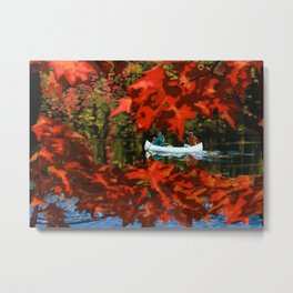 Autumn canoeing Metal Print