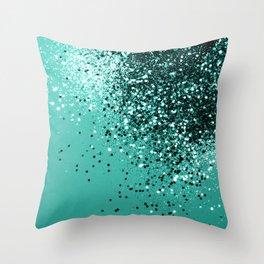 Sparkling Turquoise Lady Glitter #1 #shiny #decor #art #society6 Throw Pillow