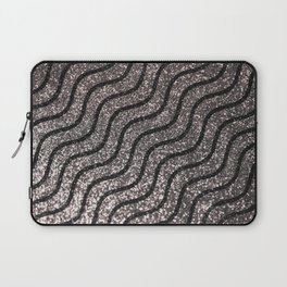 Silver Glitter With Black Squiggles Pattern Laptop Sleeve