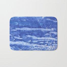 Steel blue vague watercolor painting Bath Mat