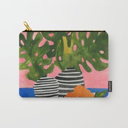 Pink Wall Monstera Carry-All Pouch