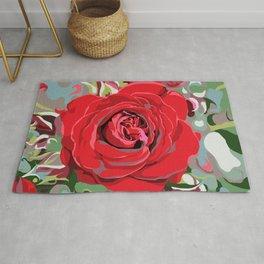 Blooming Red Rose Rug