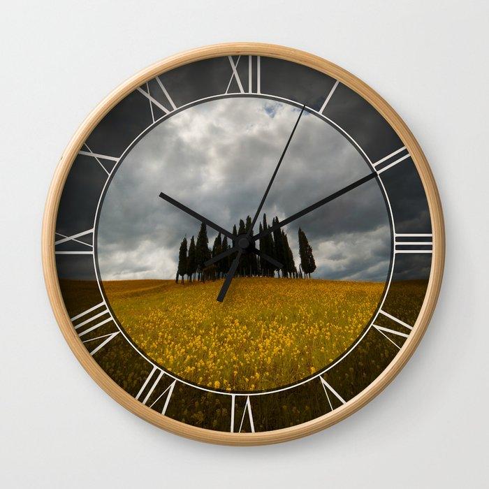 Golden fields of Tuscany Wall Clock