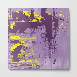 Grunge Paint Flaking Paint Dried Paint Peeling Paint Purple Yellow Lavender Metal Print