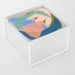 Shapes and Layers no.30 - Large Organic Shapes Blue Pink Green Gray Acrylic Box