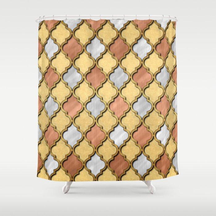 Copper Gold And Silver Quatrefoil Shower Curtain