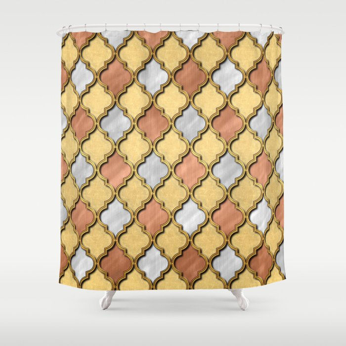 Copper Gold And Silver Quatrefoil Shower Curtain By Dawdesigns