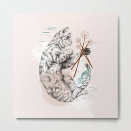 Cat and Dandelion Metal Print