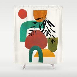 'Afternoon At The Park' Abstract Geometric Shapes Paper Collage Colorful Arrangement Mid Century Modern Cool Funky Style by Ejaaz Haniff Shower Curtain