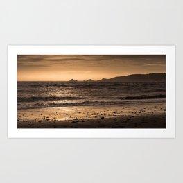 Swansea bay and Mumbles lighthouse Art Print