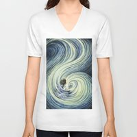 waterfall V-neck T-shirts featuring Waterfall by Anneliese Juergensen