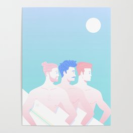 Three Surfers Poster
