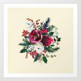 Christmas Winter Floral Bouquet No Text Art Print