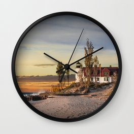 Point Betsie Lighthouse at Sunset Wall Clock
