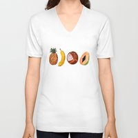 fruits V-neck T-shirts featuring Exotic Fruits by Michal Gorelick