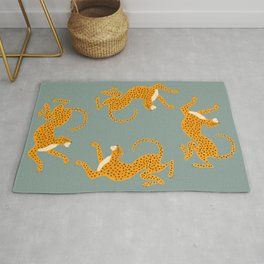 Leopard Race - blue Rug