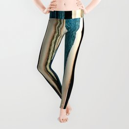 blue turquoise black grey beige pink abstract striped pattern Leggings