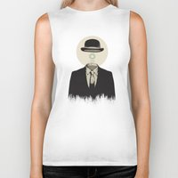 magritte Biker Tanks featuring Magritte | The Loading of Man by Gabriel Mihai | SnakeBishop
