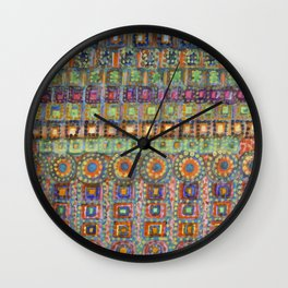 Marvellous Rows of Squares and Circles with Points Wall Clock