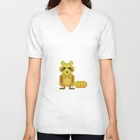 racoon V-neck T-shirts featuring Pixel Racoon by Olivier Boisseau