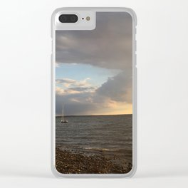 Sailboat Sunset Clear iPhone Case