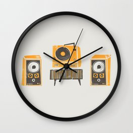 Vinyl Deck And Speakers Wall Clock
