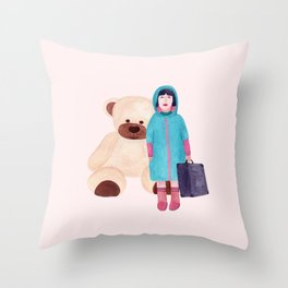 Girl and bear. Toy Throw Pillow