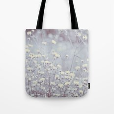 Wild Abandon -- Dreamy Fleabane Daisies in Lavender Gray Mist Tote Bag