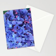 BLUE ABSTRACTED HYDRANGEA YELLOW-PINK Stationery Cards