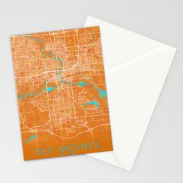 Des Moines, IA, USA, Gold, Blue, City, Map Stationery Cards