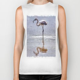Flamingo Ripples and Reflections Watercolor Biker Tank