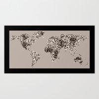 Geometric World Map - Gray and Black Art Print