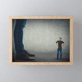tiny employee ready to fight his big boss Framed Mini Art Print